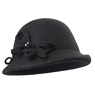 Amazplus Damen Fedora Herbst und Winter Wolle Warm bleiben Mode Einstellbar Mützen Mit Bogen Dekoration Black