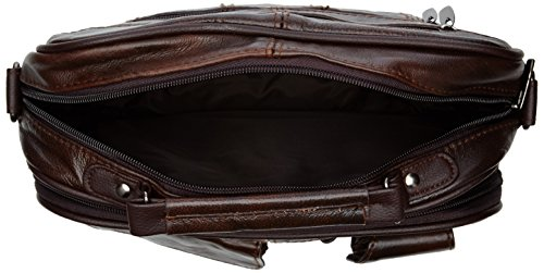 Reisetasche Leder mit Tragegurt, abnehmbarem Schulterriemen und Handytasche ( Dunkelbraun / Hellbraun) Dunkelbraun