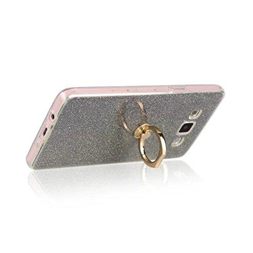 Luxus Bling Sparkle Style Case, Soft TPU [Silikon] Flexible Glitter Rückentasche mit Fingerring Stand [Anti Scratch] [Shockproof] für Samsung Galaxy A7 ( Color : Gold ) Black
