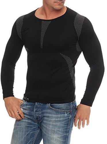 Skiunterwäsche für Herren als Hemd-Hose-Set oder 2 Hemden oder 2 Hosen auswählbar, Langarm, funktionelle Thermowäsche seamless ohne störende Nähte S/M & L/XL 1x Set Langarm schwarz/grau