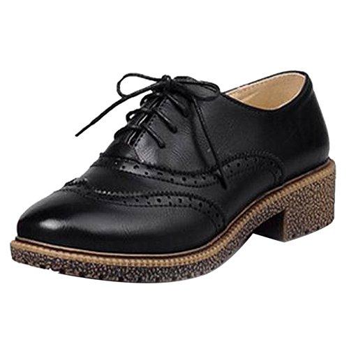 Razamaza Chaussures Mode Femme Brogue Noir