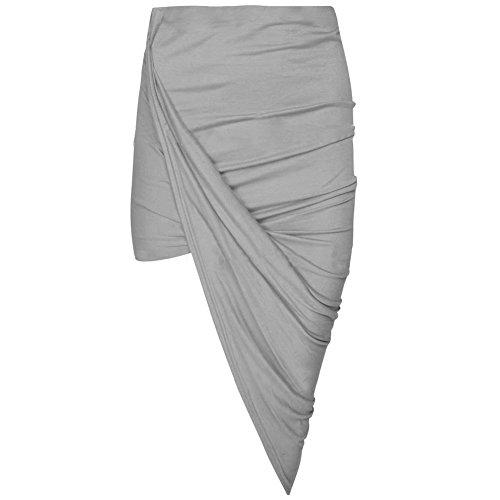 Janisramone women cut out ruched jersey side split drape long midi mini skirt maxi (Mini Out Cut Dress)