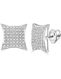 f551e10485bb Jewels by Lux - Pendientes de oro blanco de 10 quilates para hombre