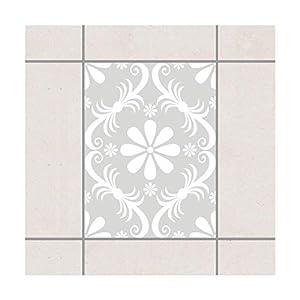 Fliesen Aufkleber–Design Flower Light Grey 20cm x 15cm, Set Größe: 10Stück