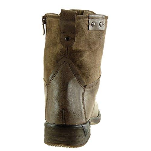 Angkorly - damen Schuhe Stiefeletten - Combat Boots - Biker - bi-Material - Schnürsenkel aus Satin - Nieten - besetzt Blockabsatz 3 CM Khaki