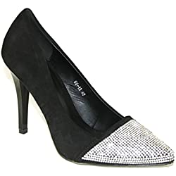 #4183 Damen Designer Schuhe Pumps Strass High Heels Schwarz 35-39 (38)