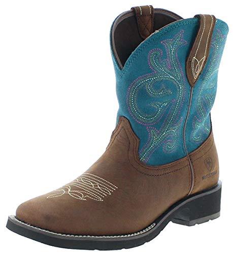 Ariat Damen Cowboy Stiefel 21477 Shasta H2O Westernreitstiefel Lederstiefel Braun Türkis 39 EU -
