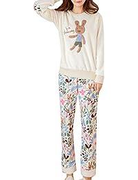 Elonglin Ensemble de Pyjama 2 pièces avec Manches Longues Femme Fille Hiver Combinaison  Pyjamas Extra Doux febfe21c5f3