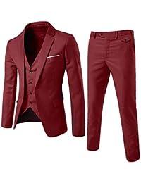 Shaoyao Abito Uomo 3 Pezzi Vestito Completo Smoking Slim Fit Aderente con  Blazer 5a7f6eaa0ba