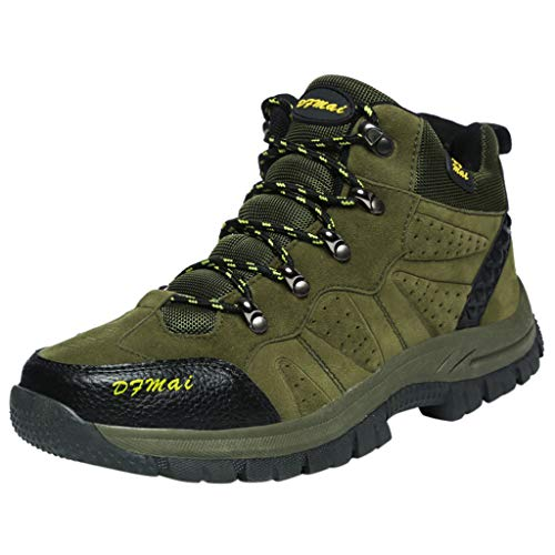 HDUFGJ Herren Trekking-& Wanderhalbschuhe Warm halten Schneeschuhe Outdoor-Schuhe Freizeitschuhe rutschfeste Verschleißfest Wasserdicht Atmungsaktiv Laufschuhe Bequem Leichtgewicht 38 EU(Armee grün)