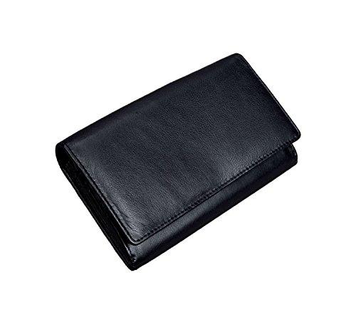 Alassio 42068 - Damenbörse mit RFID-Folie im Querformat, aus hochwertigem Nappaleder, ca. 16,5 x 10 x 2 cm, schwarz