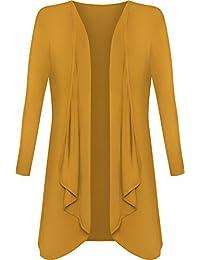 Plus Size Womens Plain Long Sleeve Open Top Ladies Waterfall Cardigan - 16-26