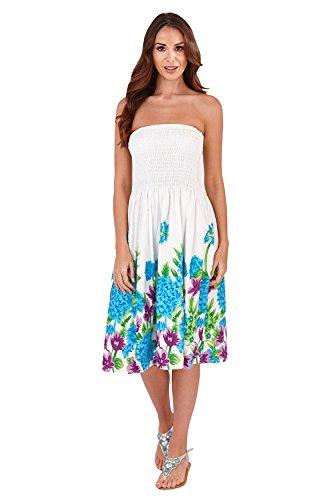 Pistachio - Femmes - Robe ou jupe mi-longue 2 en 1 motif floral pois été vacances - Noir, S - 36-38 White/Blue Floral