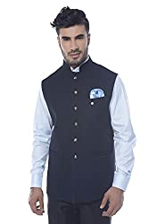 Mohanlal Sons Mens Silk Cotton Nehru Jacket (ST-930-2-N.BLUE-NP1154-42)