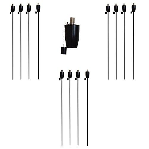 Harbour Housewares Lanterne Noire/Torche de Jardin à Huile/à Paraffine - Design Baril de 1460 mm de diamètre x12