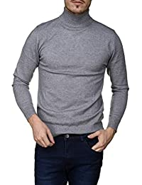 Yves Enzo - Pull habillé Maurice Col Montant Gris b2c12fbf5583
