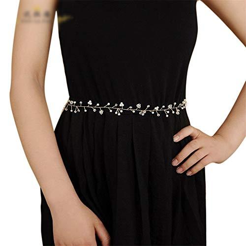 Matilda530 Hochzeit Gurt-Taillen-Dame-Perlen-Kristall Zubehör Bauchkette (Farbe : White)