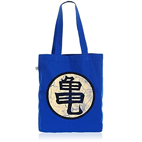 style3 Goku Roshis Turtle School Biobaumwolle Beutel Jutebeutel Tasche Tote Bag, Farbe:Blau