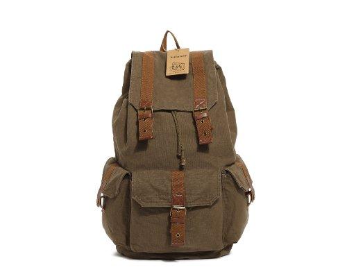 sulandy @Multi-fonctions en cuir Vintage Canvas Sac à dos militaire pour randonnée/voyage sac à bandoulière pour femme homme Vert kaki