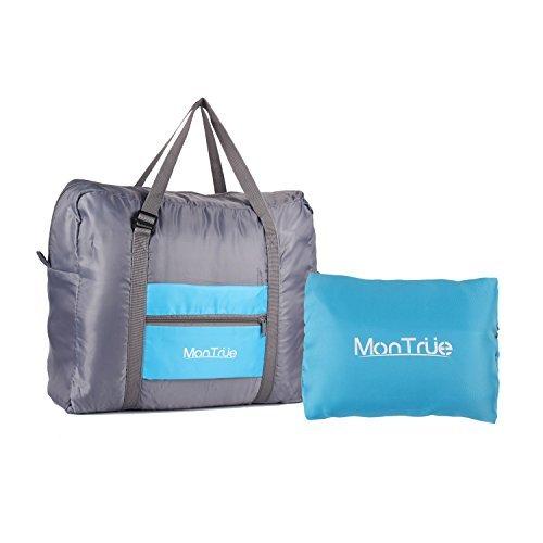 MonTrüe Bolsa de viaje para hombres y mujeres | Bolsa de viaje plegable con alta capacidad | Bolsa impermeable, ligera para fin de semana, equipaje, gimnasio deportivo, Azul