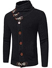 Hombres Hombre Casual Cardigan Sweater Escudo Hecho Pullover Punto Jersey  Hombres Clásico Vintage Knitting Cuello Alto 1207526fd7ed