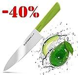HATAMOTO Cuchillos Profesionales - Cuchillo Japones Acero Inoxidable - Cuchillos de Cocina Chef para Carne Pescado y Verduras - Cuchillo Cebollero Profesional - Mango Plastico Color - de Japon 18 cm
