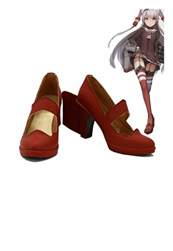 Fuman Kantai Collection Japanese Destroyer Amatsukaze Boots Cosplay Boots Stiefel Damen Rot 39 Rot