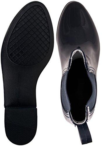 Elara Damen Gummistiefel   Bequeme Lack Stiefeletten   Chelsea Boots Blau