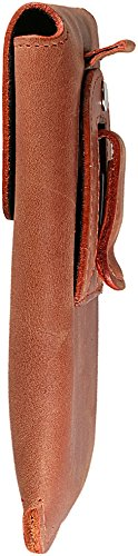 Slim Design Echt Ledertasche Handytasche Gürteltasche Vertikaltasche Matador Schwarz/Black iPhone 8 Magnetverschluss Gürtelclip/Gürtelschlaufe (Easy Out System) Konjak Braun