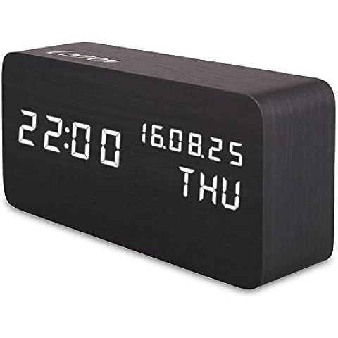 Reloj Digital Despertador Madera de Haya con Control de Sonido y LED Brillo de la Pantalla ( Negro)