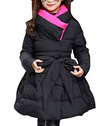 Ragazza bambini giubbotto manica lunga giubbotti parka cappotto imbottito lunga giacche nero 130cm