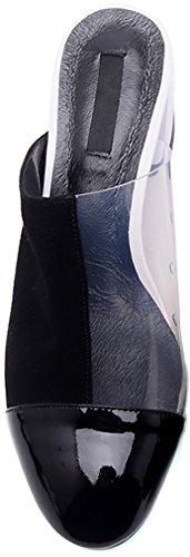 Calaier Femme Caclearly 5CM Bloc Glisser Sur Mules et sabots Chaussures Blanc