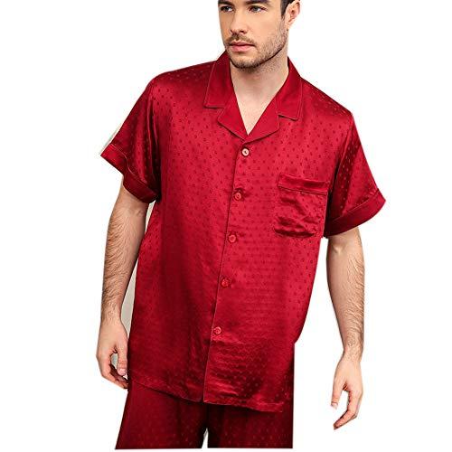 Sijux 100 Pure Classic Silk Herren/Herren Nachtwäsche/Nachtwäsche Jacquard Kurzarm Button-Down Pyjama Anzug Set, Loungewear Pjs, Rot,XXL