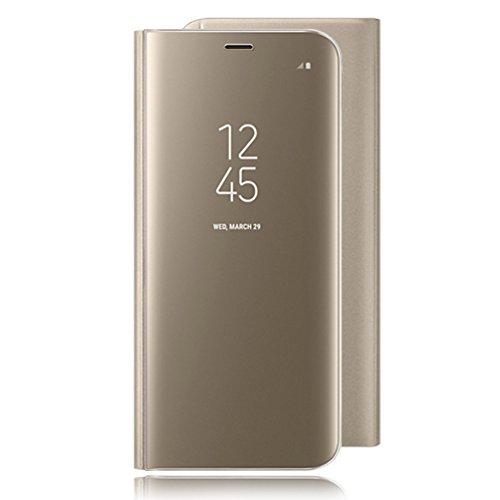 Coollee Coque pour Galaxy S6 Edge Plus, Fashion Creative Design PC Dur Housse [Auto-Sleep/Wake-up] [Fonction de Support] Plating Mirror Housse de Protection pour Samsung Galaxy S6 Edge +, d'or