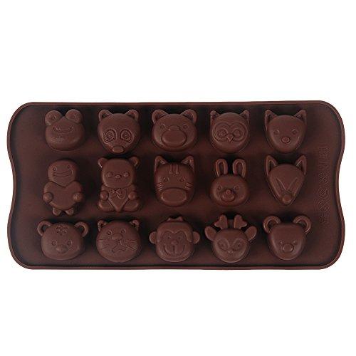 Yokirin stampo in silicone accessorio fondente decorazione della torta stampi per il cioccolato, stampi zucchero torte, stampi di sapone (forma di 15 animali)