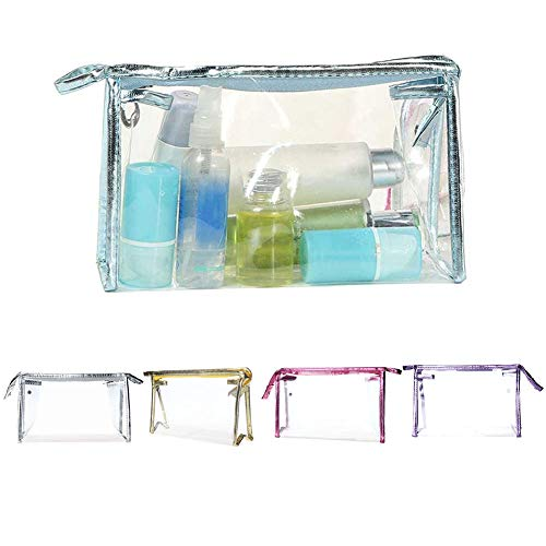 LBOJA Waterproof Clear Zipper PVC Cosmetic Make Up Toiletry Storage Bag Travel Pouch - Hot Pink