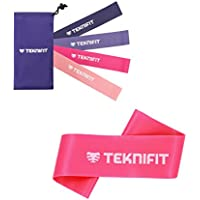 Teknifit Resistance Bands for Women | Select a Set of 4 or Single Bands | 30cm Fitness Loop Band/Squat / Booty Bands in Pink for Home and Gym Workouts | Includes FREE Exercise Guide