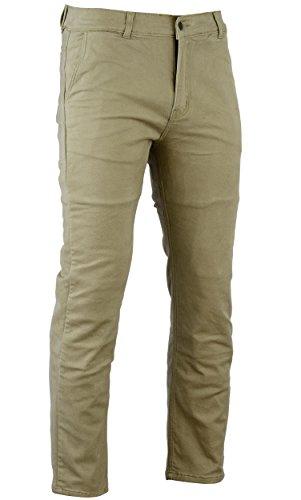 Bikers Gear Australia Limited Kevlar foderato stile moderno, protezione moto jeans CE tan chino, size 34R