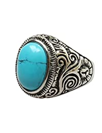 Aooaz Pour hommes En acier inoxydable Bague Plaqué argent de forme ovale pierre bleue cz rétro alliance motif gravé