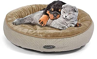 Pecute Cat Bed for Cats and Puppies Oval- Machine Washable Plush Padded Soft Comfy (Beige)