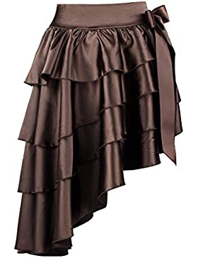 Charmian Women's Satin High-low Ruffles Dancing Party Skirt