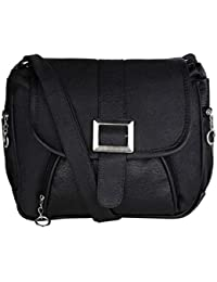 GulshanCollection Women Evening/Party, Casual PU Sling Bag With Stylish Front Buckle (Black)