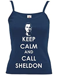 Keep Calm and Call Sheldon PRINTED ON LADIES STRAPPY T-SHIRT