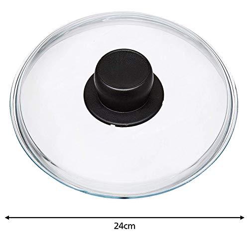 Spares2go Universal-Glasdeckel für Woks, langsame Herde und Kasserolen, 24 cm