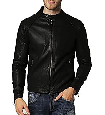 Gordania Men's Faux Leather Jacket(Gd291_Black_X-Small)