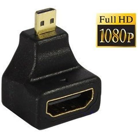 Micro HDMI macho a HDMI hembra–Adaptador de 90grados chapados en oro, compatible con Motorola xt800, HTC EVO 4G