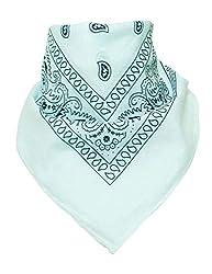 BOOLAVARD 100% Baumwolle, 12er Pack Bandanas mit original Paisley Muster, 12er Weiß