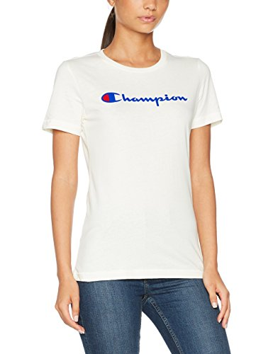 Champion Damen Crewneck T-Shirt-Institutionals, Weiß (Sno), X-Large (Champion Weißen T-shirt)