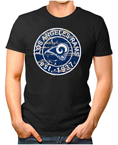 OM3® - Los Angeles-Badge - T-Shirt   Herren   American Football Shirt   XXL, Schwarz