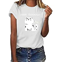 Cat Print Women Tops Personality Color Short Sleeve Round Neck Blouses T-Shirt